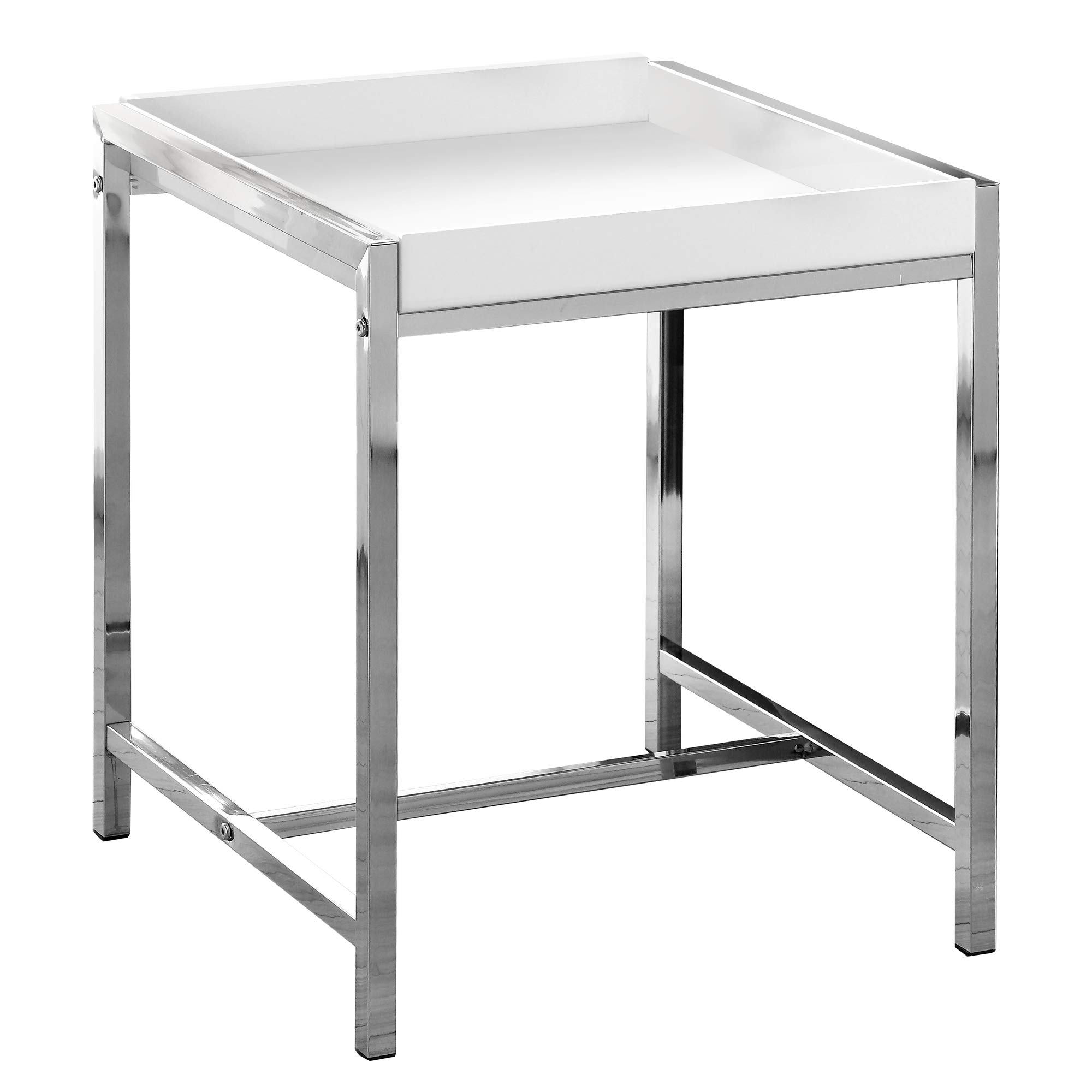 Monarch I 3050 Metal Accent Table, White Acrylic/Chrome by Monarch Specialties (Image #4)
