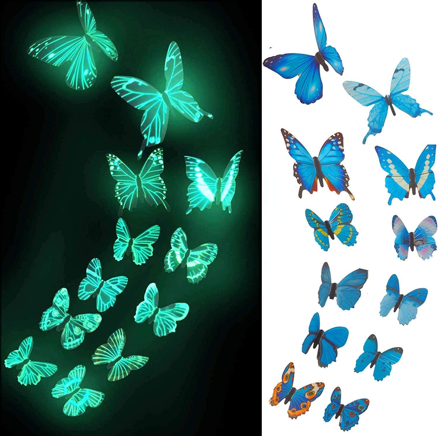 12PCS 3D Butterfly Decals, Glow in The Dark Butterfly Stickers for Ceiling or Wall Decals, Removable Refrigerator Magnets Stickers Decor for Kids Room Decoration Home and Bedroom Art Mural Blue