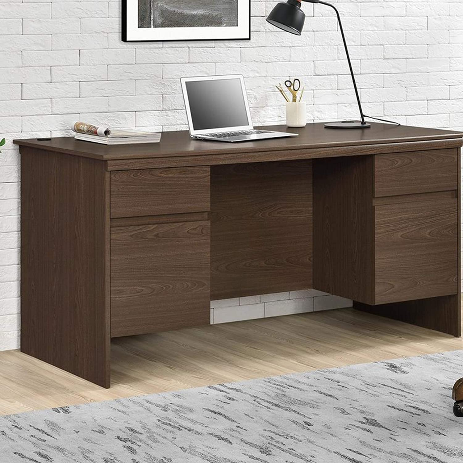 Amazon com executive computer desk modern writing table home office workstation contemporary desk with 2 drawers espresso kitchen dining
