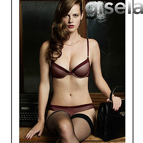 GISELA - Sujetador Push UP con Tanga Mujer Color: Granate Talla: 100: Amazon.es: Ropa y accesorios
