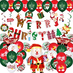 Christmas Balloons Decorations Party Supplies Set 64 pcs Xmas Balloons Decor - Banner Confetti Balloons Hanging Swirls Santa Claus Foil Balloons Elk Snowman Christmas Tree Bell Gift Box Decoration