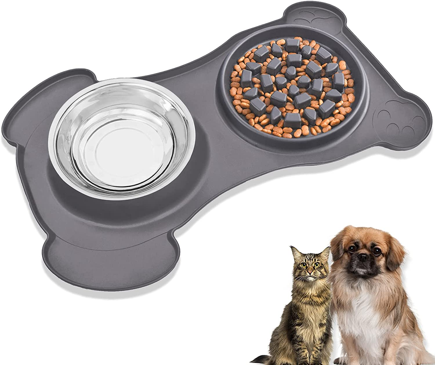 3 in 1 Slow Feeder Dog Bowl & Water Bowl Silicone Set - Stainless Steel Water & Food Dish Bowls with Non-Toxic, No Spill, Non Slip, Silicone Mat for Medium / Large Pet, Grey