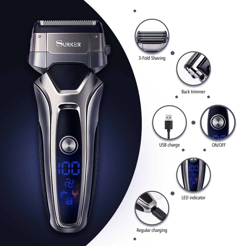 Surker Afeitadora Eléctrica Profesional Máquina de Afeitar para ...