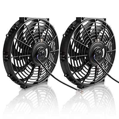 "(Pack of 2) 12"" Electric Radiator Cooling Fan Assembly Kit 1550 CFM Universal Slim Engine Fan Mounting Kit 12V 80W(Diameter 11.73"" Depth 2.36""): Automotive"