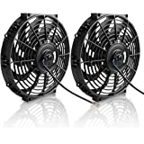"12"" Electric Radiator Cooling Fan Assembly Kit 1730CFM Universal Slim Engine Fan Mounting Kit Reversible 12V 80W (Diameter 11.73"" Depth 2.36"")"