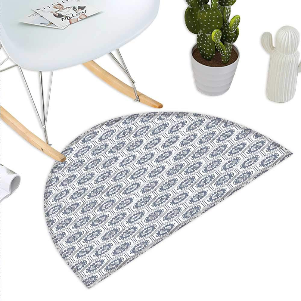 color01 H 19.7  xD 31.5  Geometric Semicircle Doormat Curved Diagonal Lines with Complex Monochrome Design Vintage Inspiration Halfmoon doormats H 27.5  xD 41.3  Charcoal Grey White