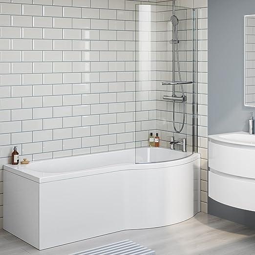1700 mm derecha de lujo P-en la bañera con mampara de ducha Panel + BL226: iBathUK: Amazon.es: Hogar