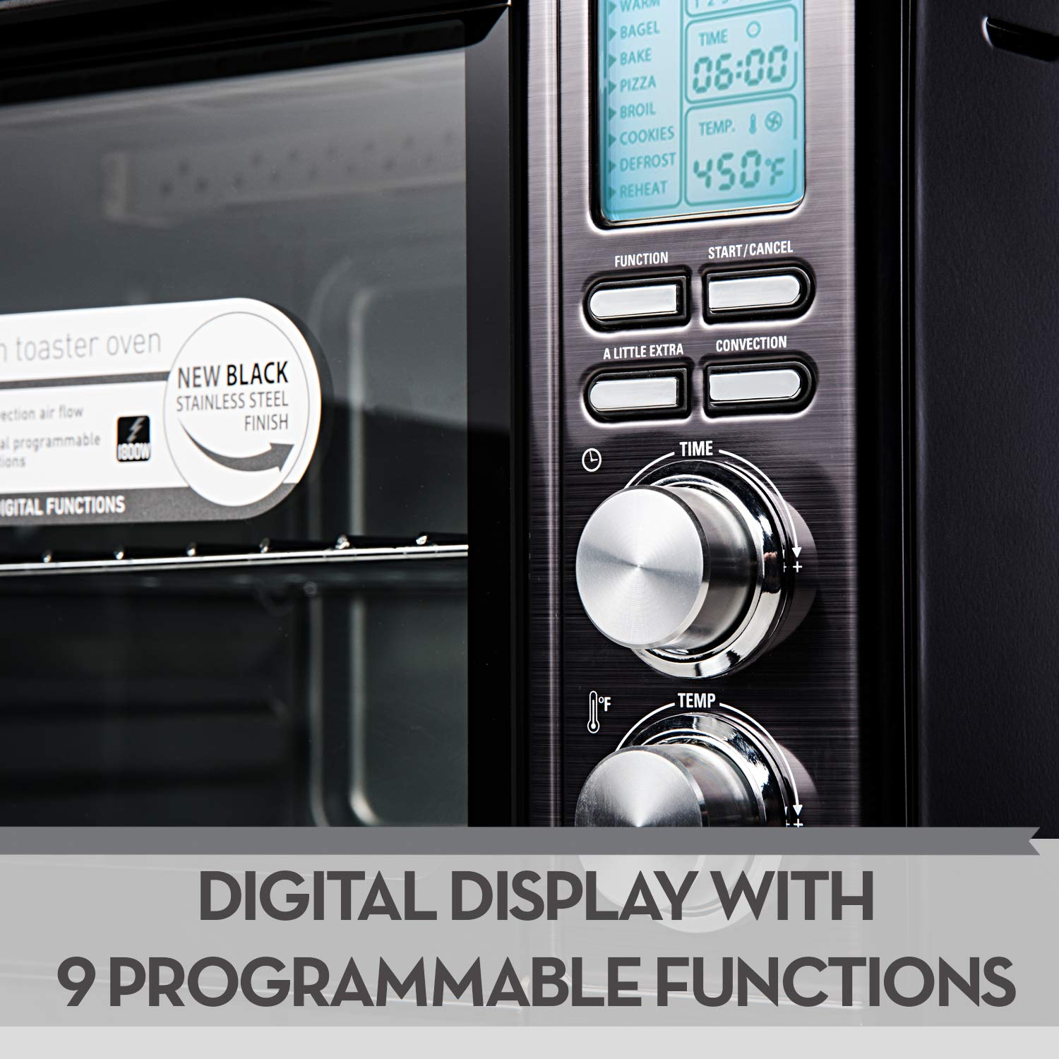 Bialetti (35047) 6-Slice Convection Toaster Oven, Black Stainless Steel by Bialetti (Image #2)