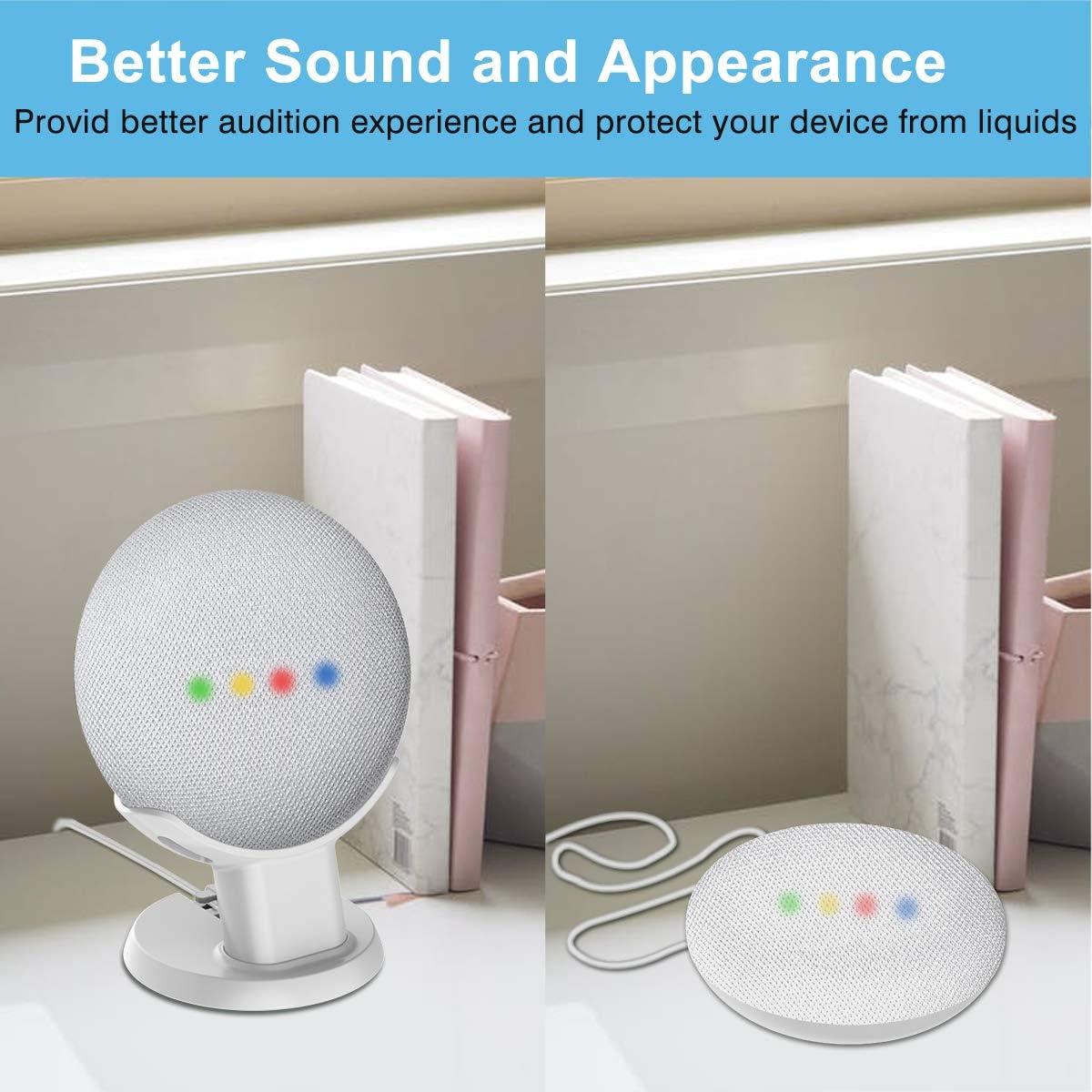 Blanco Mejora la Visibilidad y Apariencia del Sonido Estuche de Seguridad Compacto en cocinas Soporte de Escritorio para Montaje en Soporte Nest Mini Cozycase Soporte para Google Home Mini