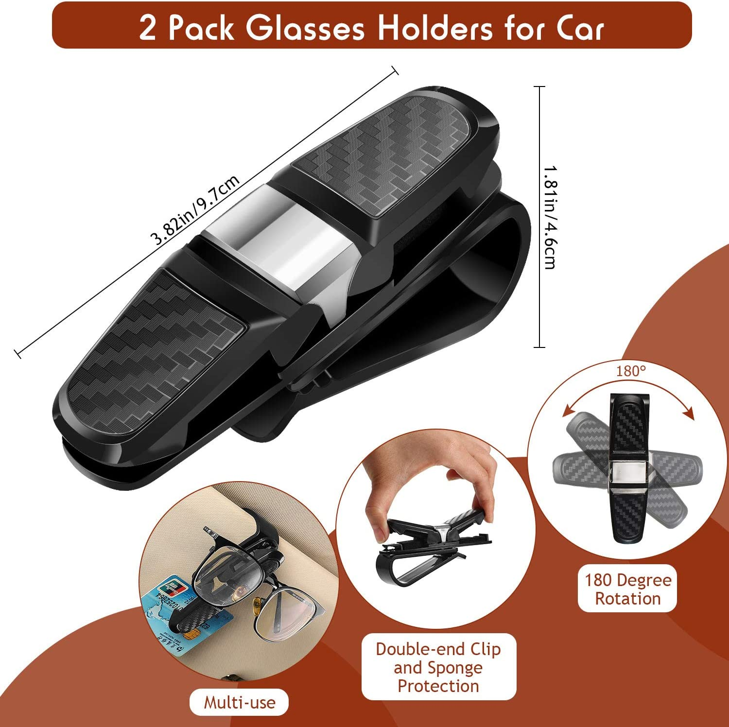 Wallet 2 Pieces Car Seat Organizer Seat Gap Filler with Dual USB Charging Car Console Side Organizer with 2 Pieces Sunglasses Holder Clips and 4 Pieces Hooks for Cellphone Cup and Various Cards
