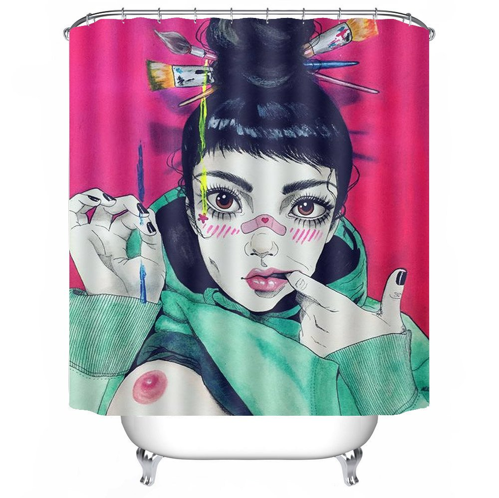POPS AMERICA Mildew Resistant White Bath Curtains 66'' X 72'' - Sexy Goth Gothic Women Girl Breast Art Pink Shower Curtain Liner - Waterproof Polyester Fabric Bathroom Decor Set 12 Hooks by POPS AMERICA