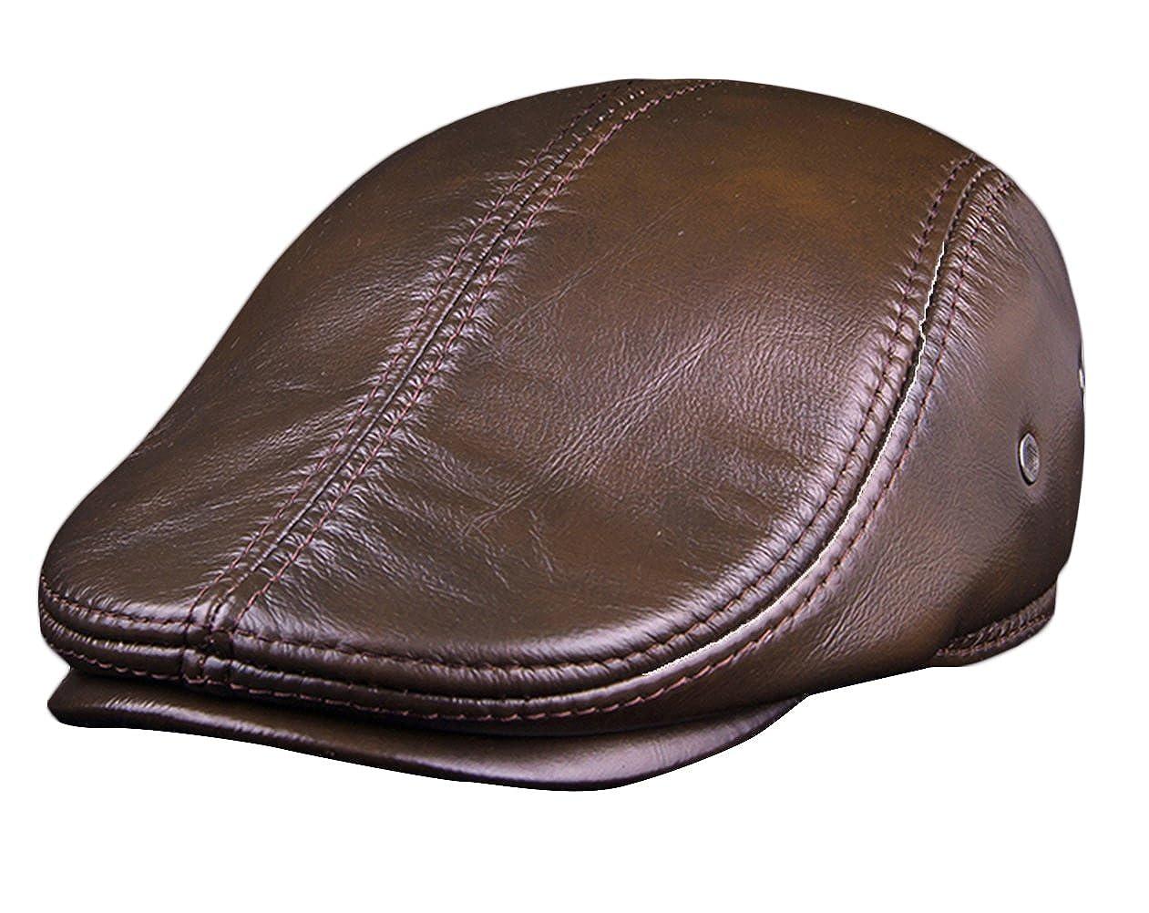Insun Herren Leder Kappe Gatsby Cap Sportliche Schirmmütze für Übergangszeit und Winter INSN-KNAS-K14D8888