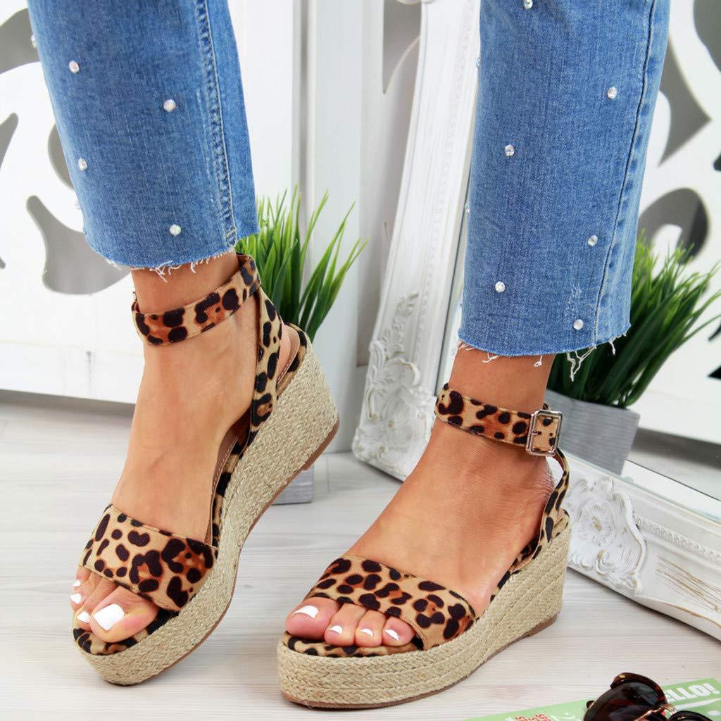Sharemen Womens Ladies Strap Ankle Buckle Platform Wedges Woven Sandals Roman Shoes