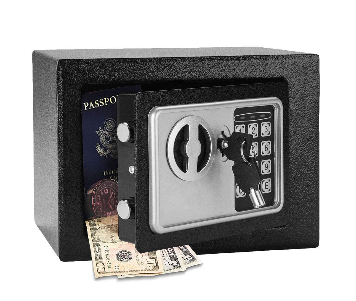 civilys Small Safe Box, Safes and Lock Boxes, Digital Safe Box for Money Gun Jewelry Cash, US Stock (Black) by civilys