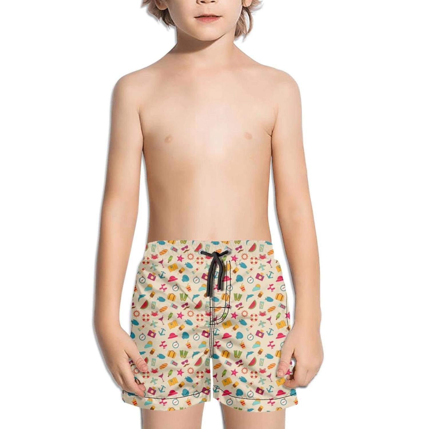 Ina Fers.Quick Dry Swim Trunks Summer Time Travel Objects Shorts for Boys