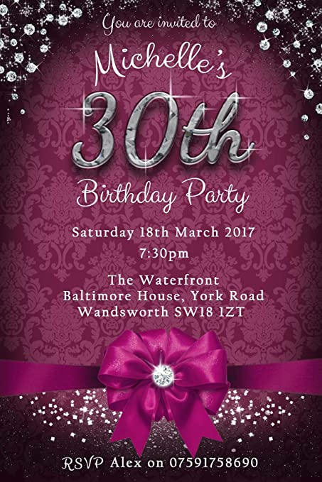 30th birthday party invitations bow sparkle 6 colours