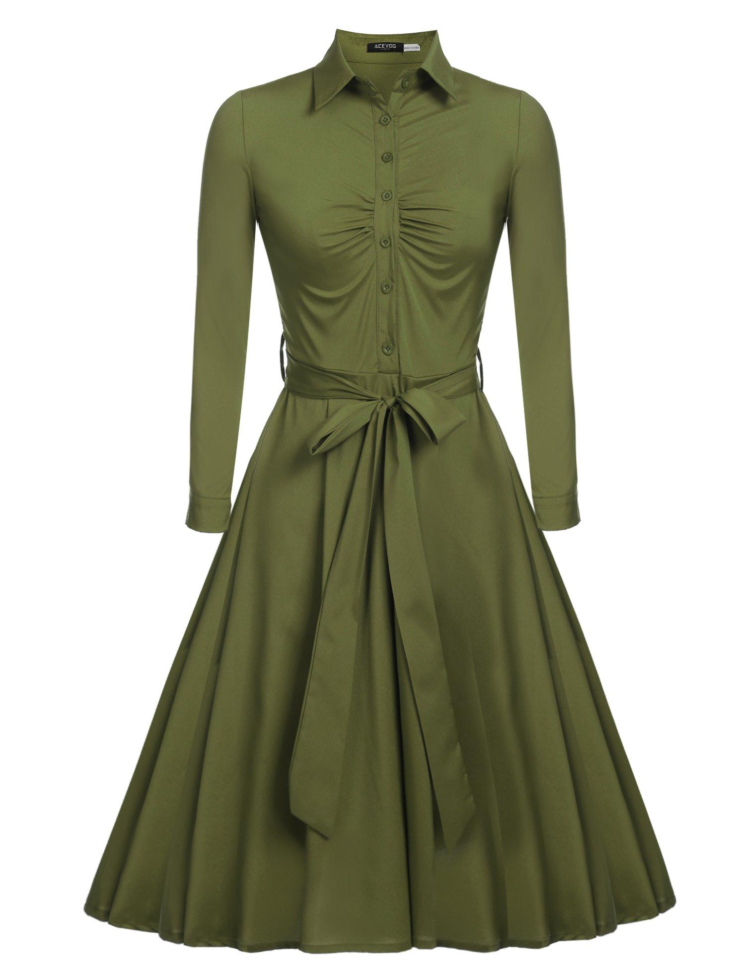 Beyove Womens Long Sleeves 1950s Vintage Swing Stretchy Dresses Army Green M
