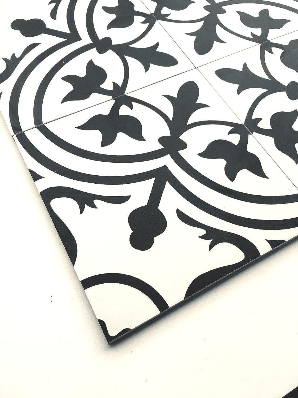 10pcs 8x8 Flora Black White Porcelain Tile by Squarefeet Depot
