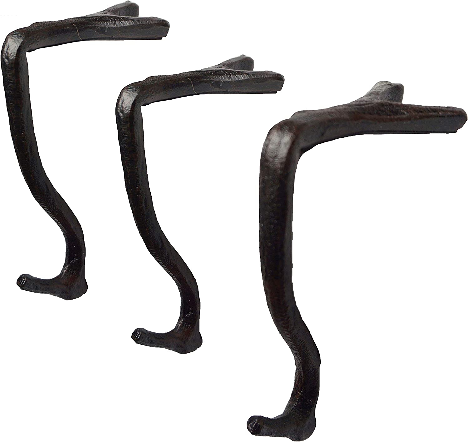 Lulu Decor,100% Cast Iron Branch Mantel Stocking Holder with Rubber Base for Better Grip, can Hold Upto 9 lbs, Natural Beautiful Shape, Simple Sophisticated Design (3 Pcs)