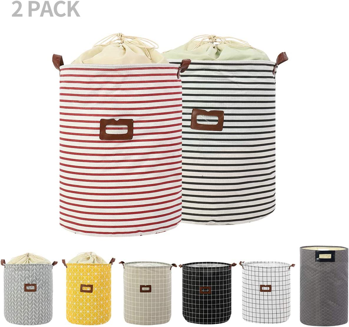 2-Pack Clothes Laundry Hamper Storage Bin Large Collapsible Storage Basket Kids Canvas Laundry Basket for Home Bedroom Nursery Room (PATTERN-05)