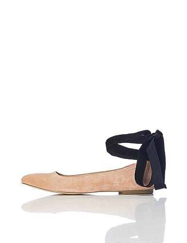 FIND Ballerinas Damen aus Rauleder, mit Knöchelriemen und Schnürung, Schwarz (Black), 36 EU