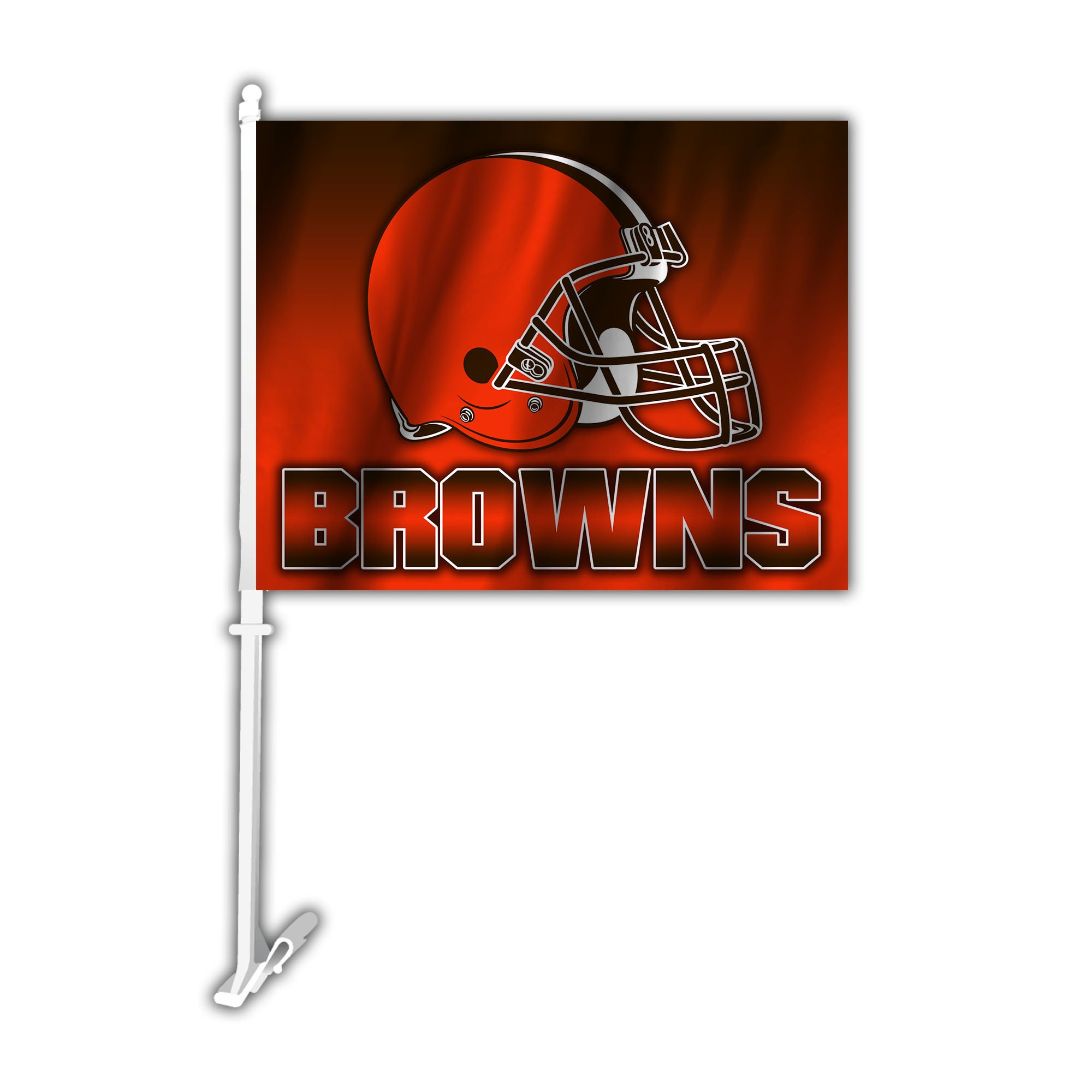 NFL Cleveland Browns Car Flag with Wall Bracket, Team Color