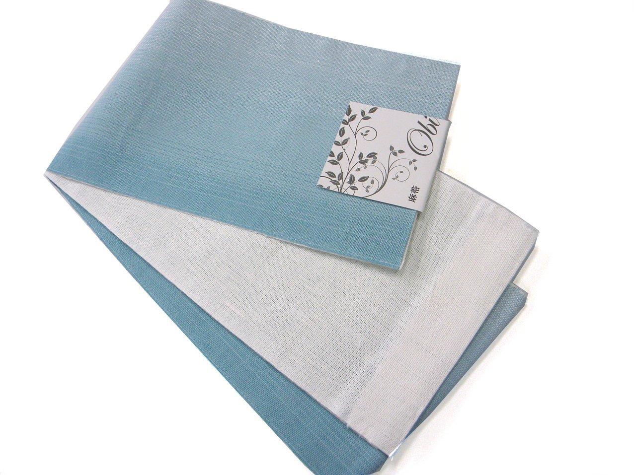 半巾帯 本麻長尺 浴衣帯 両面ぼかし 麻帯 赤/紺/薄紫/薄黄/水色 B07DMFXHPV 水色 水色