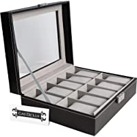 CAS De' Lux Watch Box Display Case Organizer - 10 Slot Luxury Set with Glass Top Pu Leather Velvet Pillows Metal Lock