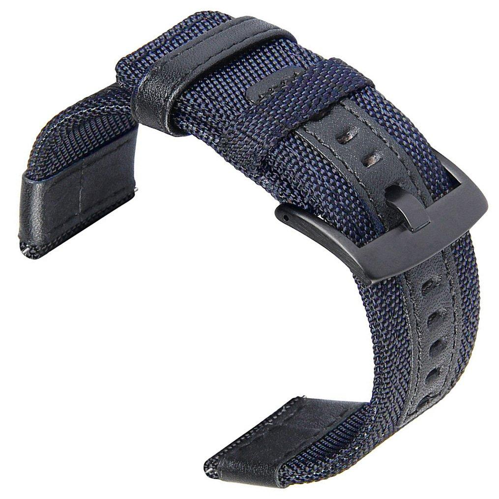 otopo 22 mm 24 mmプレミアムナイロン織withレザー交換リストバンドブレスレットストラップ 24mm Width(NOT Fit Gear S3) B072JXZD9C  ブルー 24mm Width(NOT Fit Gear S3)