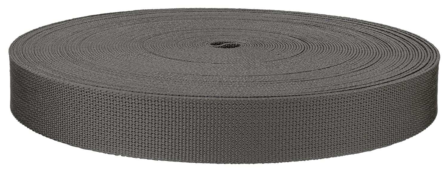 20 Yards 1 Inch Grey Medium Weight Nylon Webbing Closeout