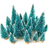 36 PCS Mini Sisal Snow Frost Trees Mini Pine Trees Bottle Brush Trees Plastic Ornamets Tabletop Tree Models with Wood Base for DIY Crafting Displaying and Desktop Home Decoration