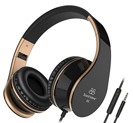 Headphones, Sound Intone I65 Foldable Headphone with Microphone and Volume Control, Wired Headset for