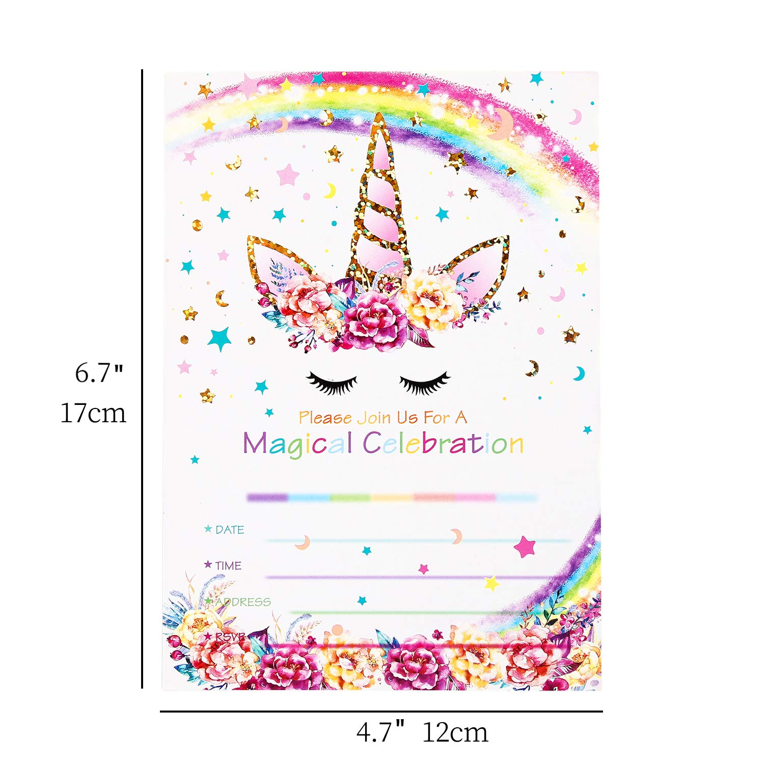Amazon Partico Magical Unicorn Party Invitations With Envelopes For Kids Birthday Baby Shower Supplies 24 Pieces Of Fill In Blank Invitation Card