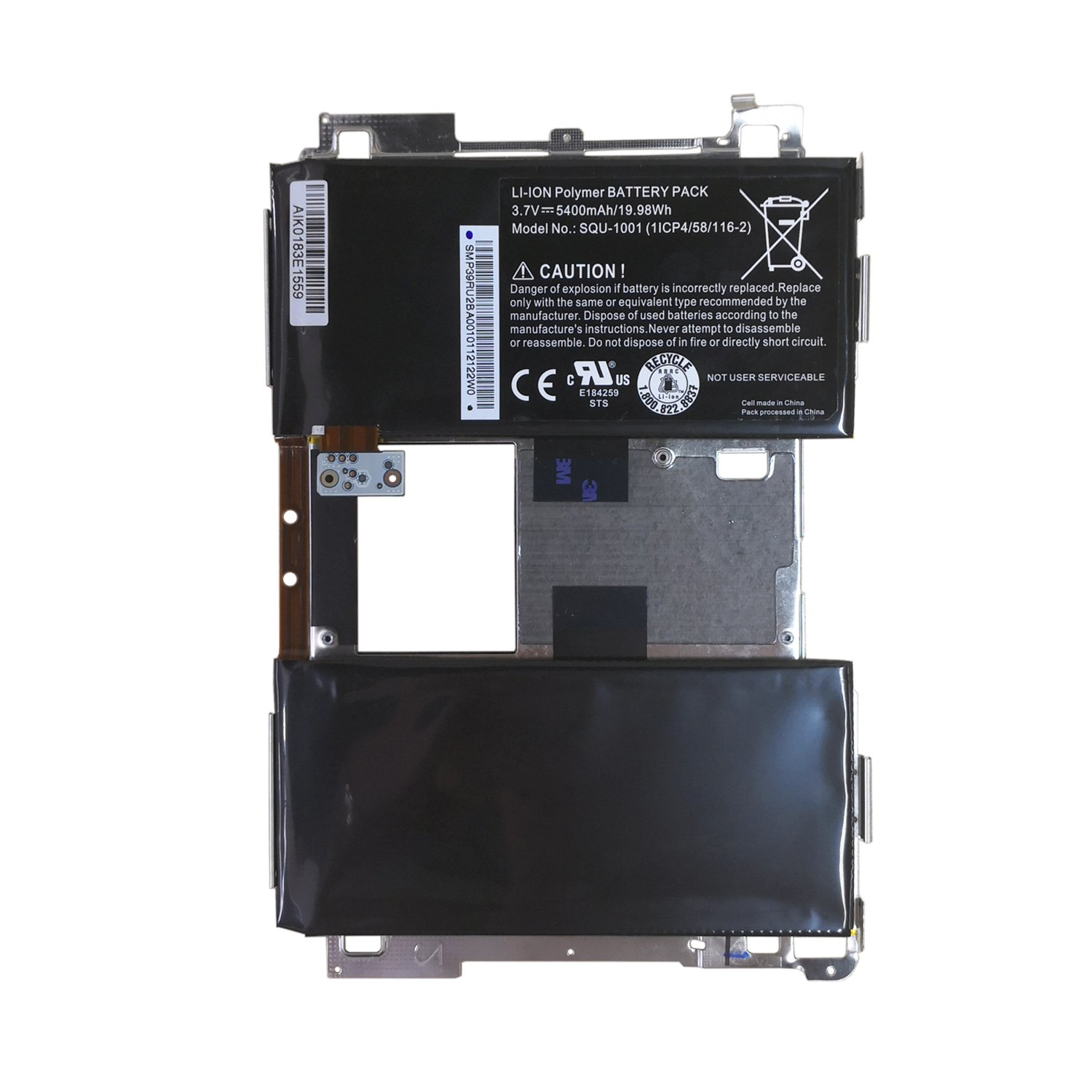 Wee Li-Polymer Replacement Battery for BlackBerry Playbook, fits BlackBerry SQU-1001 916TA029H 921600001 RU1(5400mAh 19.98Wh)
