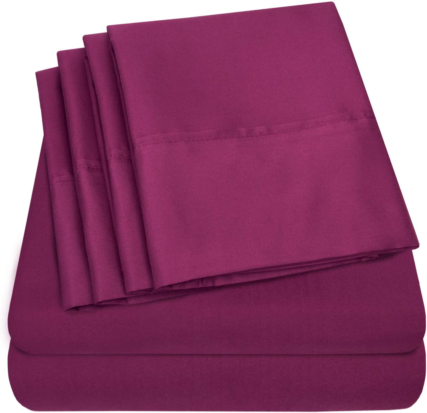 Queen Sheets Berry - 6 Piece 1500 Thread Count Fine Brushed Microfiber Deep Pocket Queen Sheet Set Bedding - 2 Extra Pillow Cases, Great Value, Queen, Berry
