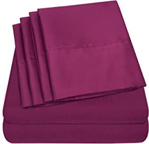 Sweet Home Collection Quality Deep Pocket Bed Sheet Set - 2 EXTRA PILLOW CASES, VALUE, Twin, Berry, 4 Piece