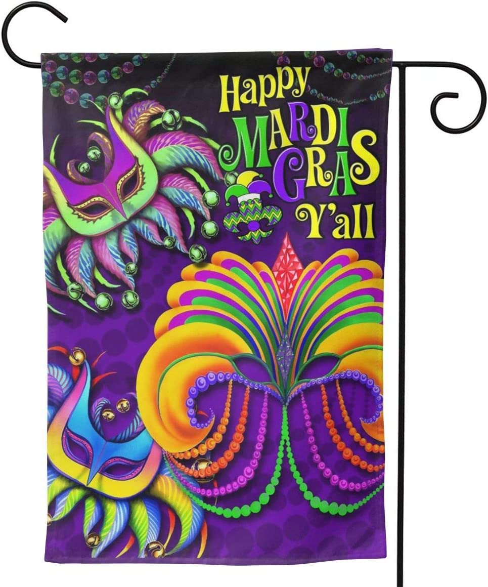 """AHOOCUSTOM Boxwood Wreath Welcome Garden Flag Vertical Double Sided, Happy Mardi Gras Beads Y'all 2 Rustic Carnival Mask Farmhouse Burlap Flags Yard Outdoor Decoration 12.5 X 18 Inch 12.5""""x18"""""""