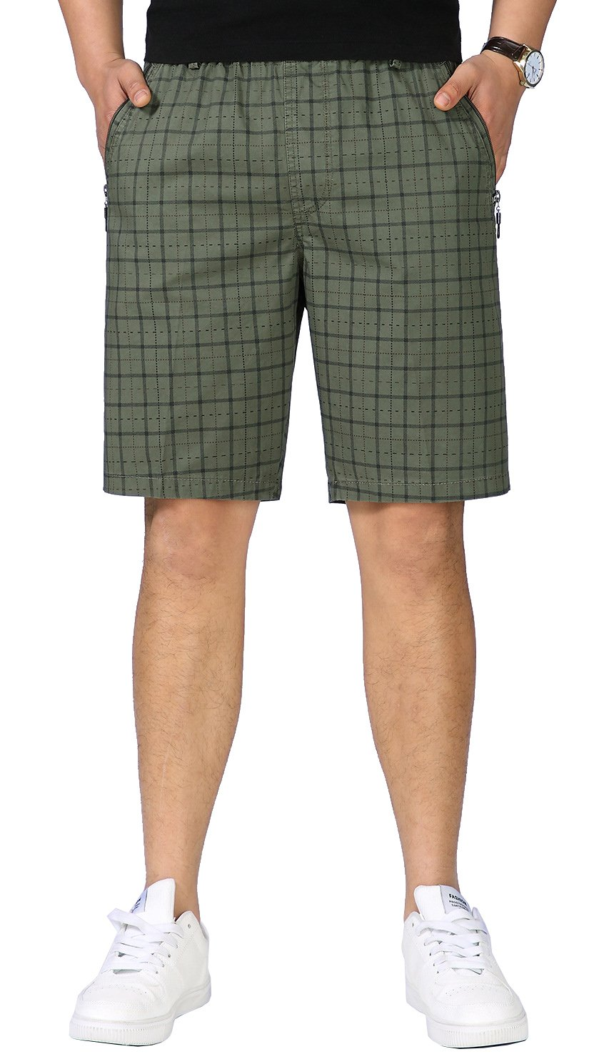 Gihuo Men's Classic Pure Cotton Elastic Waist Comfort Plaid Short (Army Green, M)