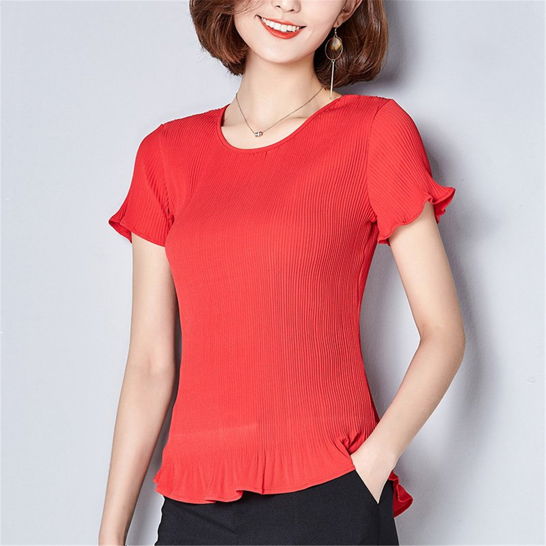 OUXIANGJU Summer Women Tops Pleated Polka Dot Shirts O-Neck Short Sleeve Chiffon Blouses Big Sizes at Amazon Womens Clothing store: