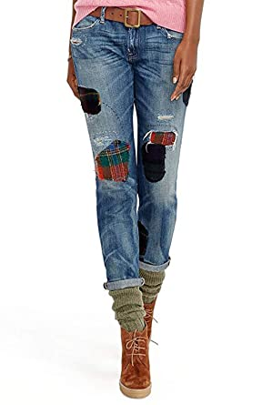3129b25ee Image Unavailable. Image not available for. Color  Polo Ralph Lauren  Repaired Astor Boyfriend Jean Indigo Blue (28)
