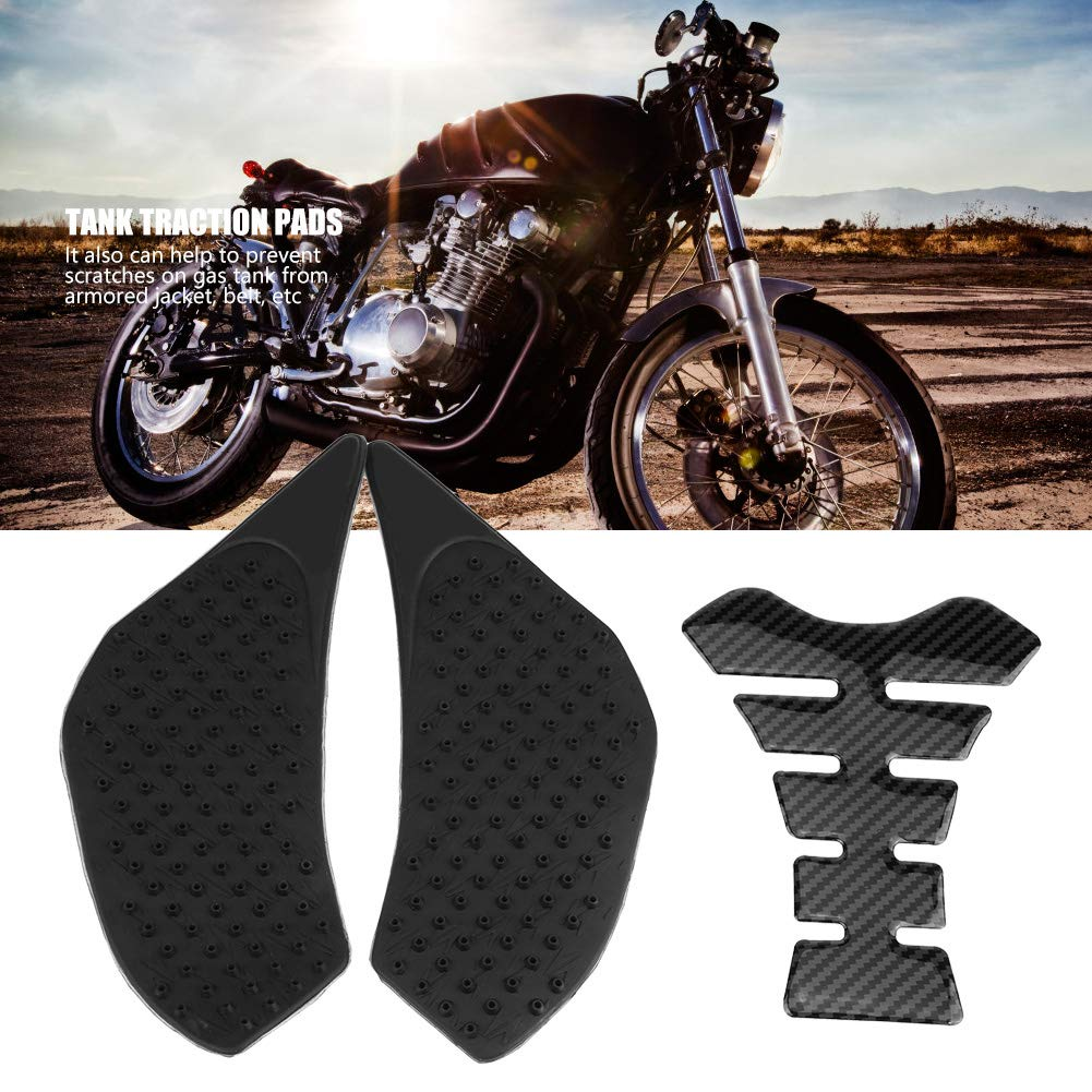 Elerose Motorrad Gas Tank Side Fuel Grip Pad Besch/ützer und Fishbone Decal Sticker f/ür FZ-6 06-10