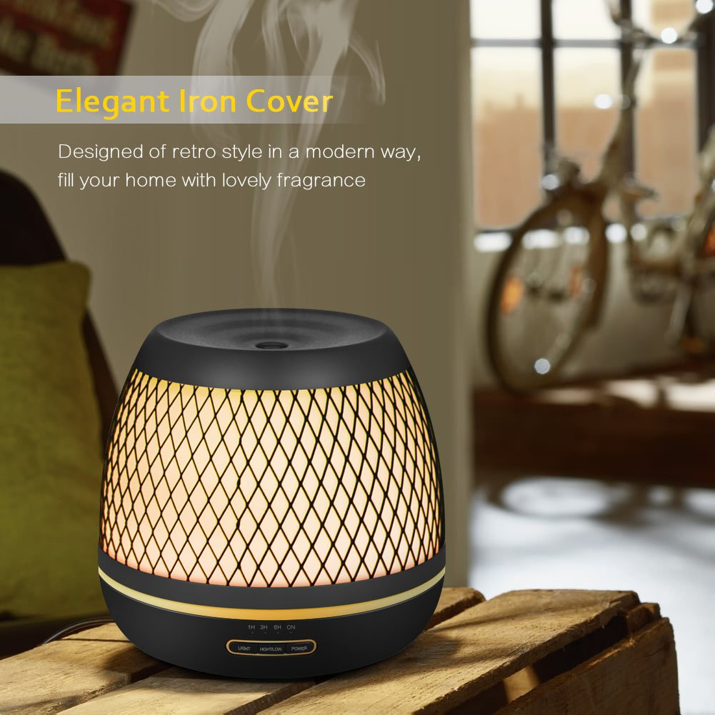 InnoGear 2018 Premium 500ml Aromatherapy Essential Oil Diffuser with Iron Cover Ultrasonic Diffuser Classic Stlye Cool Mist Humidifier with 7 Colorful Night light for Home Bedroom Baby Room Yoga Spa by InnoGear (Image #4)