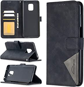 ShinyCase Rhombic Surface fro Redmi Note 9 Pro Flip Wallet Case High-Grade PU Leather Flip Phone Case Cover Book Style with Card Holder Kickstand Notebook Skin Cases for Xiaomi Redmi Note 9 Pro,Black