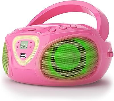 auna Roadie - Radiocasetera CD, Equipo estéreo, Minicadena, Reproductor de CD, Puerto USB, MP3, Sintonizador Am/FM, Bluetooth 2.1 + Der, Luz LED 2 x ...