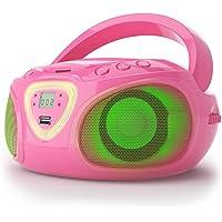 auna Roadie - CD-radio, stereo, boombox, USB, MP3, FM-radiotuner, Bluetooth 2.1, LED-verlichting, 2 x 1,5 W RMS-voeding, netvoeding en batterijvoeding, roze