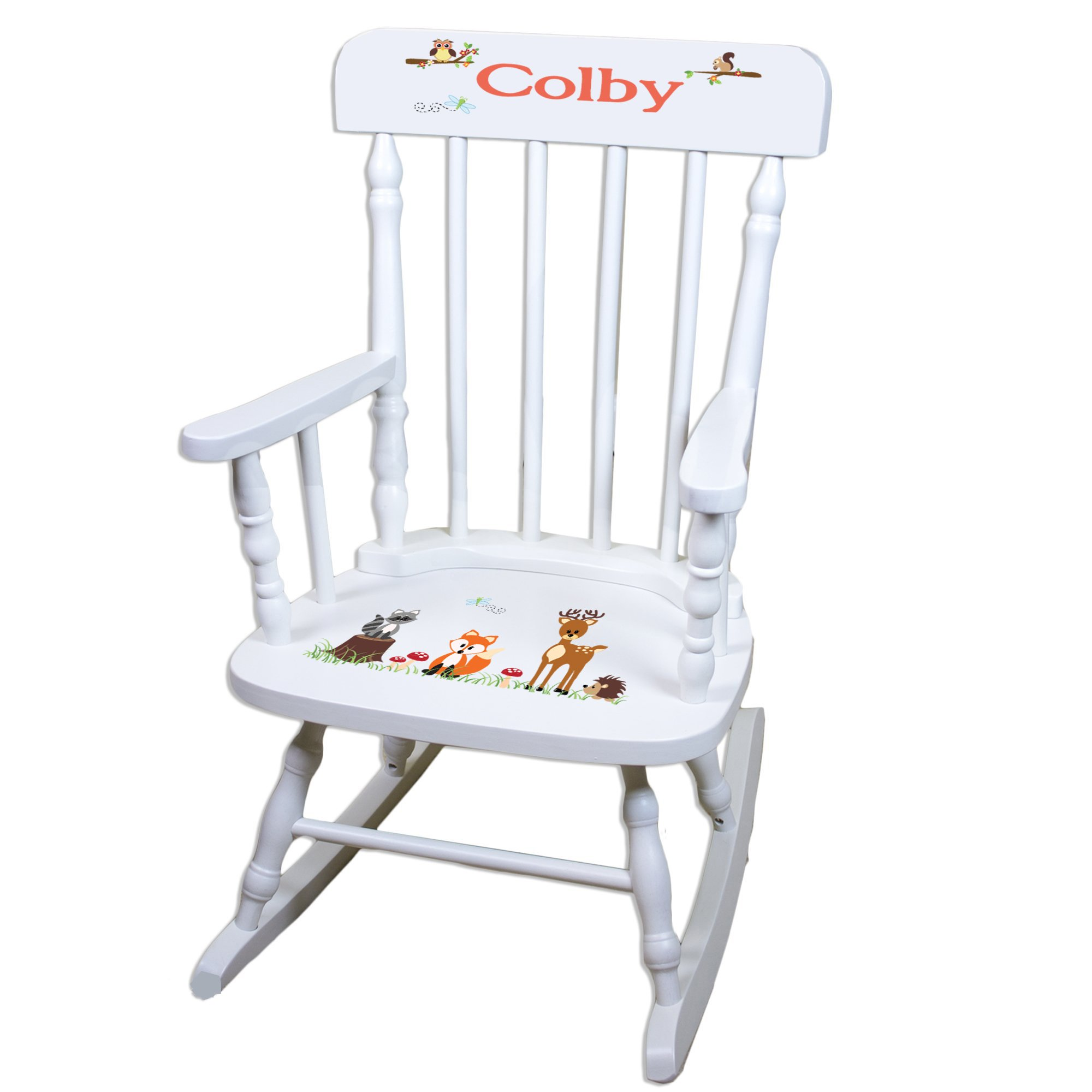 Personalized Coral Forest Animals White Childrens Rocking Chair