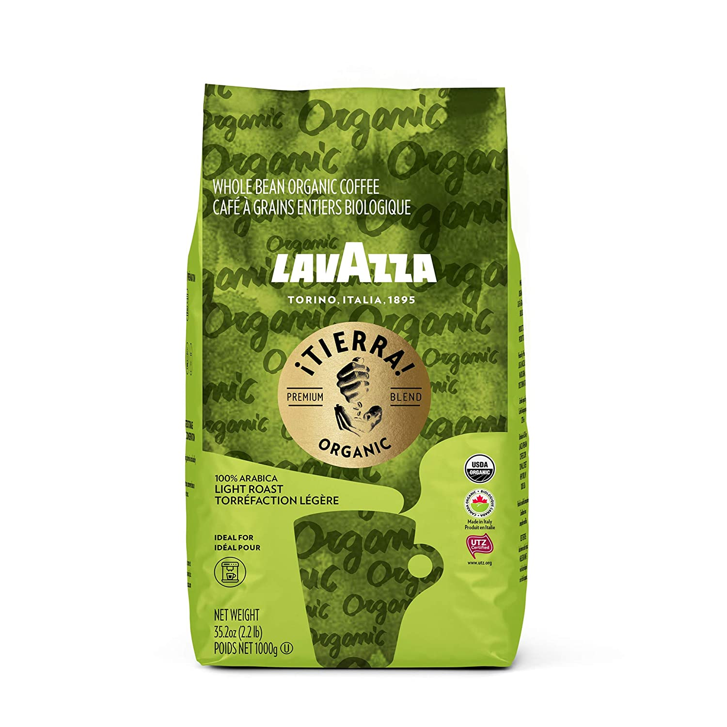 Lavazza Organic Tierra! Whole Bean Coffee Blend, Italian Roast, 2.2 Pound (packaging may vary)