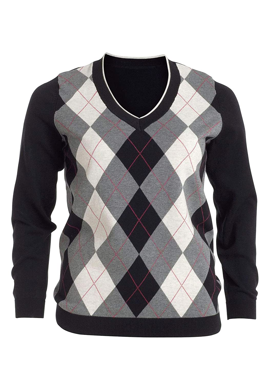 Ladies Colorful 1920s Sweaters and Cardigans History ellos Womens Plus Size V-Neck Argyle Sweater $46.32 AT vintagedancer.com