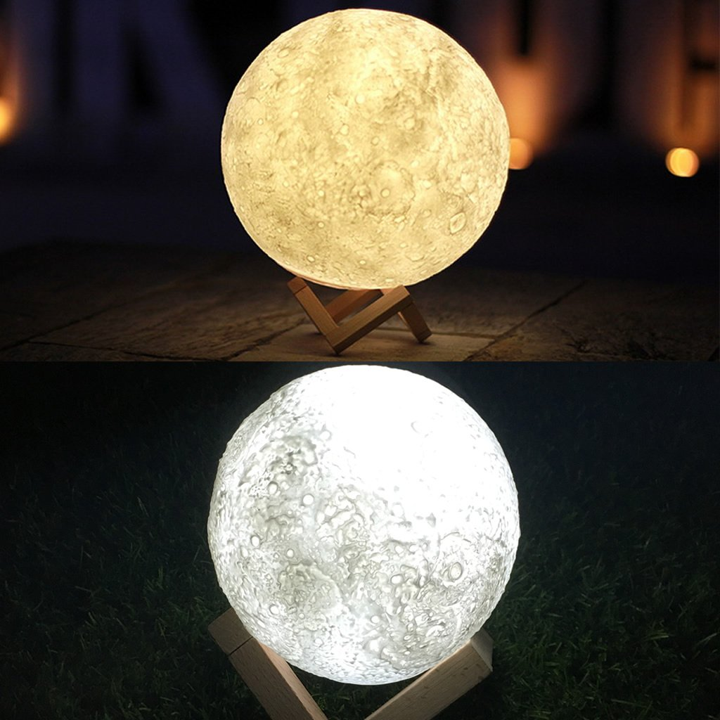 Jarvan 3D Printing Moon Lamp, USB Rechargeable 3 Color Change Touch Switch Home Decor Gift Bedroom Night Light (13cm/5.1inch) by Jarvan (Image #4)