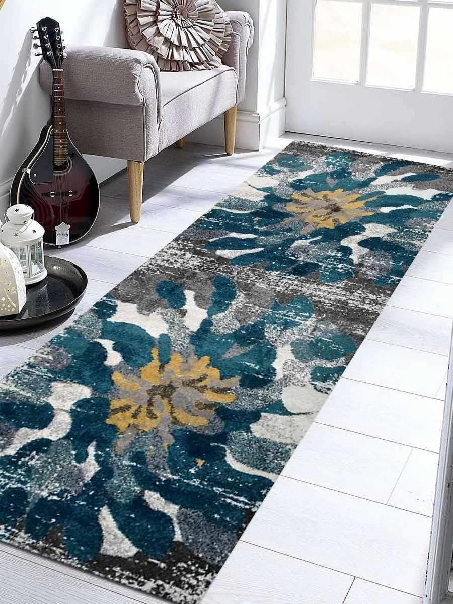Rugsotic Carpets Machine Woven Heatset Polypropylene 3 2 x10 Runner Rug Floral Silver Blue M00032